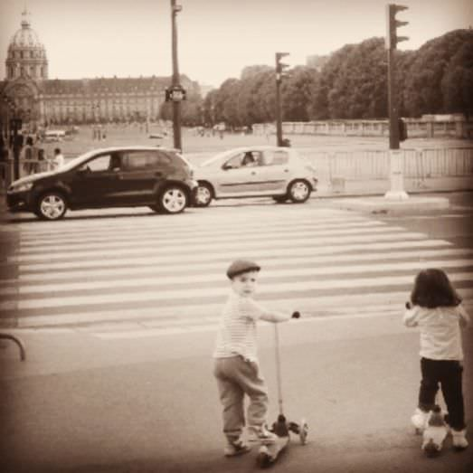 Scooter riding, beret wearing...aka cutest french kids ever!