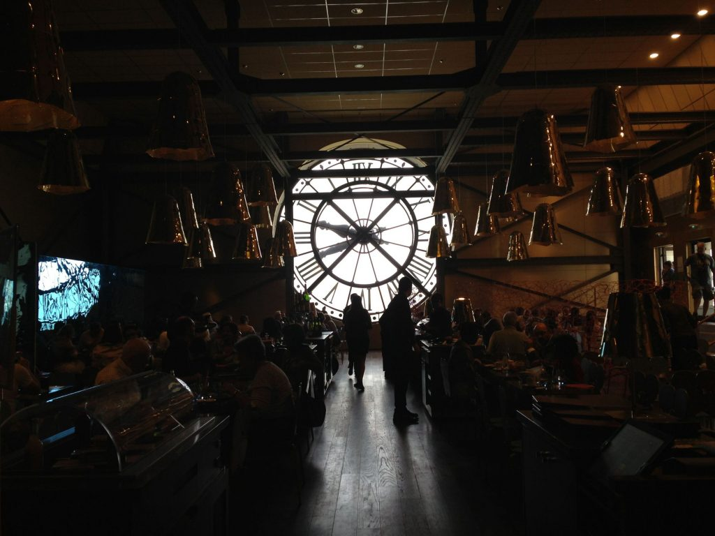 Cafe upstairs in the museum - the view outside the clock is incredible of the Seine and Louvre!