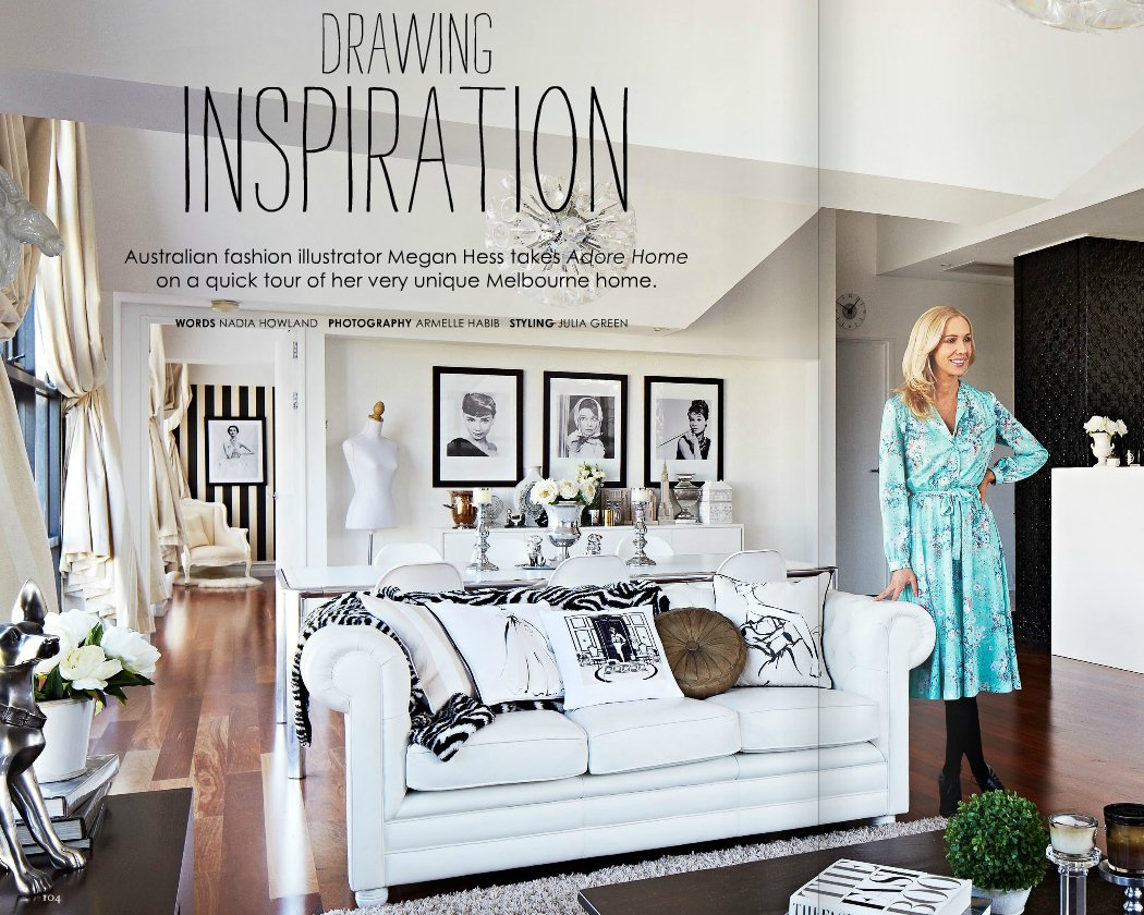 haute homes inside the home of fashion illustrator megan hess strawberry milk events. Black Bedroom Furniture Sets. Home Design Ideas